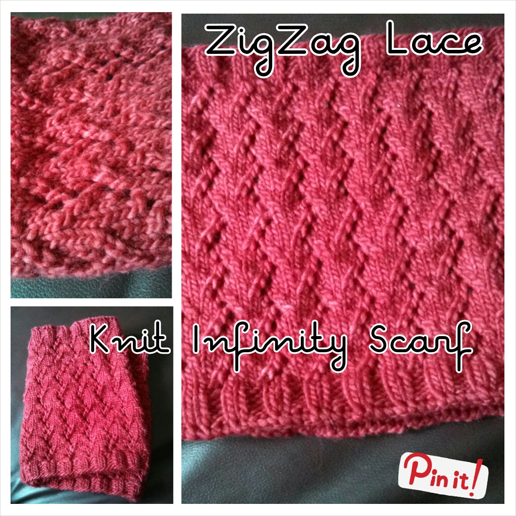 Easy Zig Zag Knitting Pattern : Zig zag lace knit infinity scarf pattern