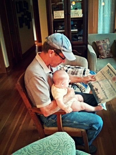 Reading the paper with GrandDad Kevin.