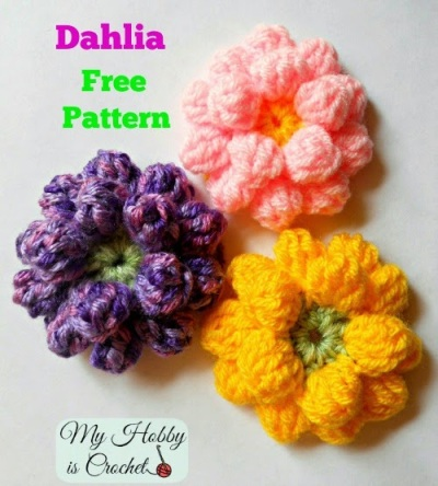 Crochet Dahlia Flower ♥ http://www.myhobbyiscrochet.com