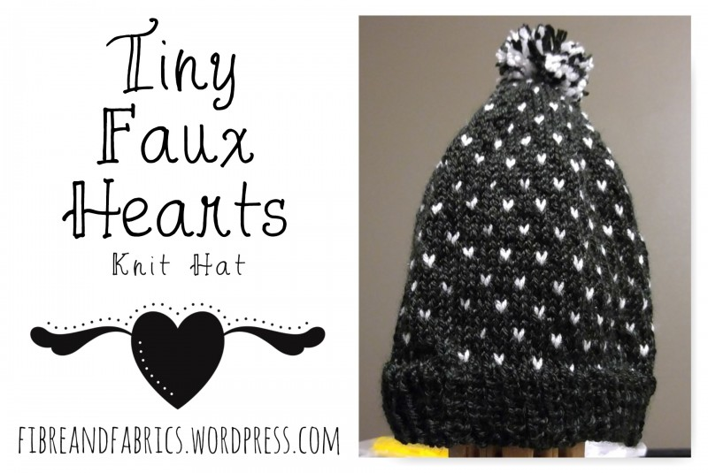 @fibreandfabrics blog - #Knit hat Tiny Faux Hearts