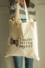 I Make String Pretty Zazzle canvas tote bag available on Zazzle