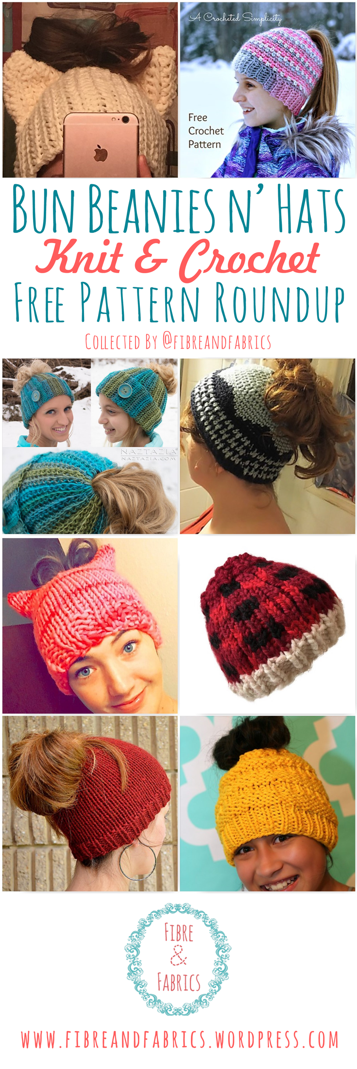 10+ FREE Bun Beanie Knitting & Crochet Pattern Roundup by @fibreandfabrics
