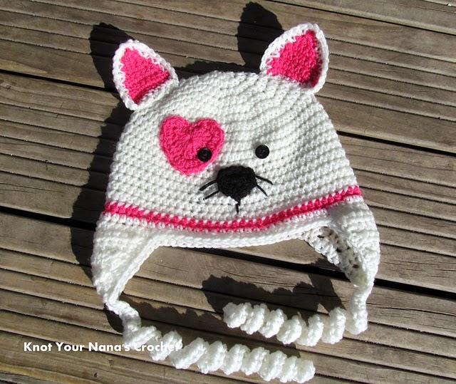 Free #Crochet Pattern - Valentines Kitty Hat